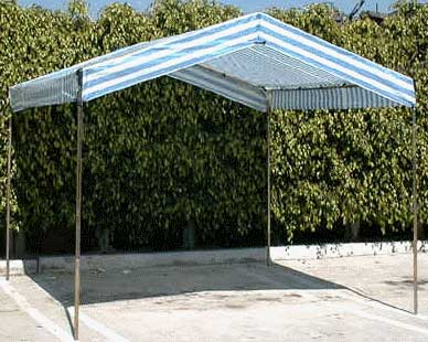 BLUE AND WHITE STRIPE VALANCE TARP 12 X 14 mesh count 10 mil thickness 2  blue stripe 2  white stripe corner reinforced ultraviolet 3% treated ... & Shelters To Go Valance Canopy Tarps